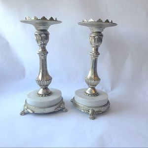 Pair of Two Silver and Marble Hollywood Regency Candlestick Holders